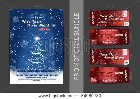 Vector New Year night party promotional bundle of blue posters and red tickets with Christmas tree snowflakes pattern and snowfall on the dark gray background.