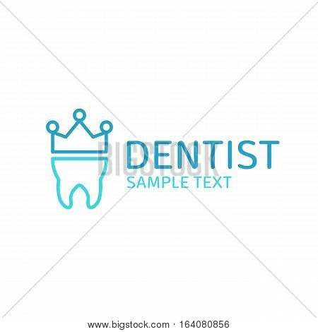 Dentist logo design. Dental clinic creative company vector emblem. Blue logotype with tooth and crown design template for clinics, teeth care or oral hygiene concept.