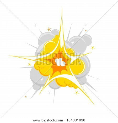 Comic book explosion vector illustration. Cartoon effect boom, explode flash, bomb isolated on white background.