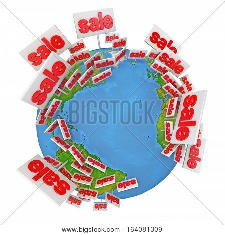 World Sale. International tenders. Buy online. Icon. Isolated on white background. 3D illustration. 3D rendering