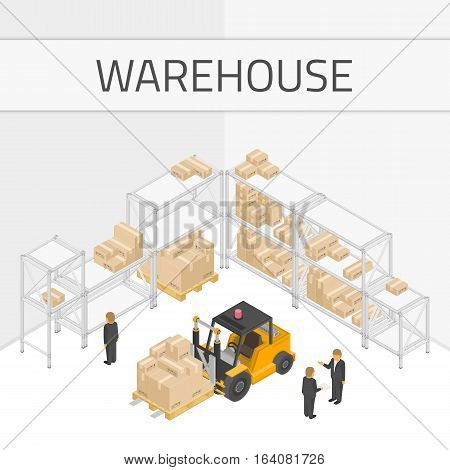 Isometric warehouse Interior with forklift, storage boxes and staff. Distribution Warehouse concept. Loading and unloading from Warehouse. Storage and transportation industry, delivery and logistic.