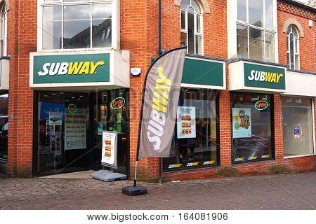 Basingstoke, Uk - Jan 04 2016: Exterior Of The Subway Fast Food Outlet In Basingstoke, Hampshire Sit