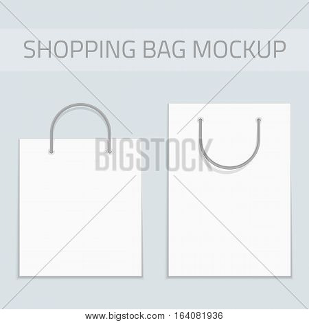 Empty white shopping bag template for advertising and branding. Mockup Paper Package. Mock Up Template Ready For Your Design. Product Packing Vector EPS10.