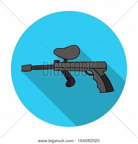 Paintball gun icon in flat design isolated on white background. Paintball symbol stock vector illustration.