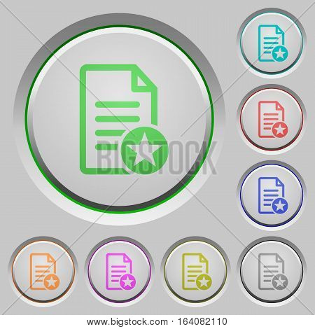 Favorite document color icons on sunk push buttons