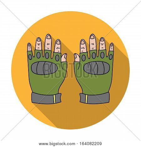 Fingerless gloves icon in flat design isolated on white background. Paintball symbol stock vector illustration.