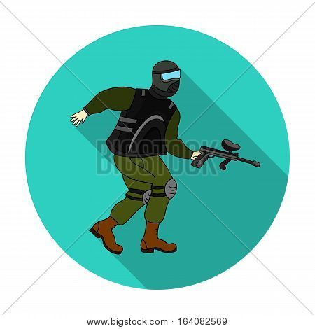 Paintball player icon in flat design isolated on white background. Paintball symbol stock vector illustration.
