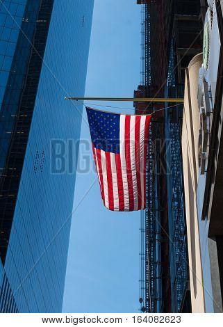 Us flag in manhattan new york city