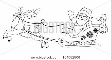Vector Santa Claus in sleigh driving reindeer
