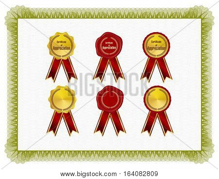 Classic style Certificate with green floral border with seals