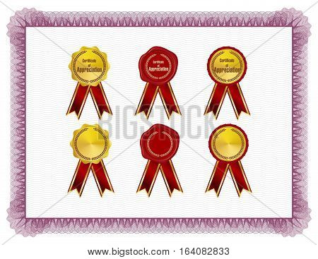 Classic style Certificate with red floral border with seals