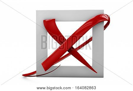 3D Illustratio Of Large Flat Buttons: Red Crosses Mark. Square, Hard And Rounded Corners. Isolated W