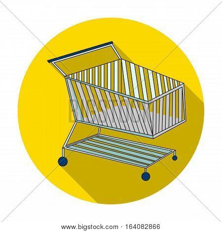 Shopping cart icon in flat design isolated on white background. Supermarket symbol stock vector illustration.