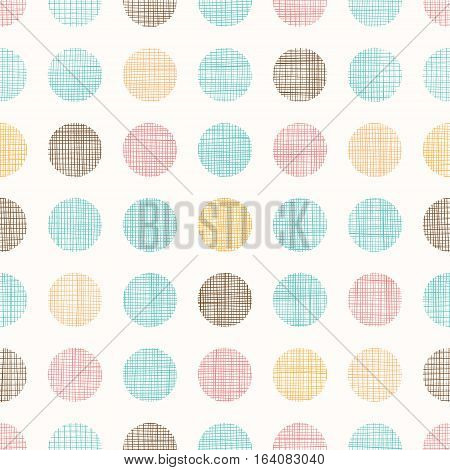 Vector Vintage Dots Circles Seamless Pattern Background With Fabric Texture. Perfect for nursery, birthday, circus or fair themed designs. Surface pattern design.