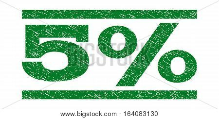 5 Percent watermark stamp. Text tag between horizontal parallel lines with grunge design style. Rubber seal green stamp with scratched texture. Vector ink imprint on a white background.