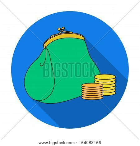 Purse with coins icon in flat design isolated on white background. Supermarket symbol stock vector illustration.