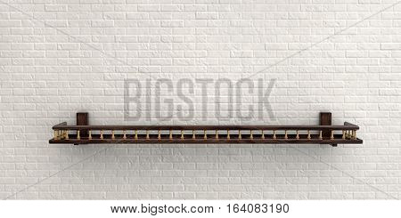 3D Illustration Of White Misty Brick Wall For Background Or Texture