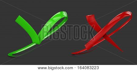 3d illustratio of Large flat buttons: green check and red crosses mark. isolated black