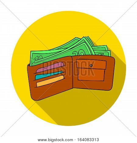Wallet with cash icon in flat design isolated on white background. Supermarket symbol stock vector illustration.