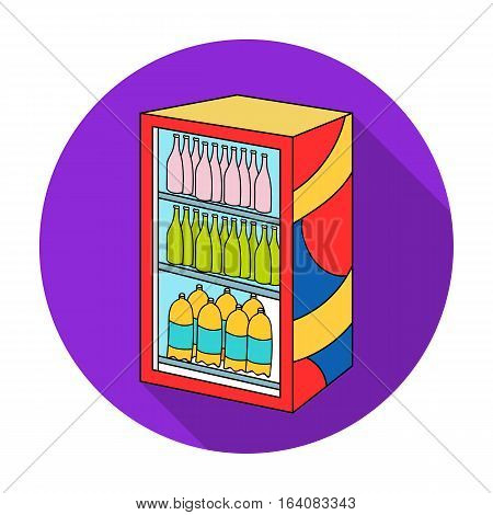 Fridge with drinks icon in flat design isolated on white background. Supermarket symbol stock vector illustration.