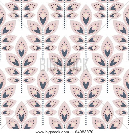 Stylized leaf pale pink seamless pattern. Floral repeating ornament with decorative leaves.