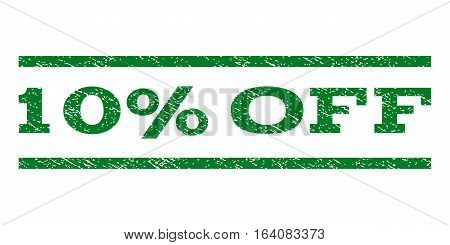 10 Percent Off watermark stamp. Text caption between horizontal parallel lines with grunge design style. Rubber seal green stamp with scratched texture. Vector ink imprint on a white background.