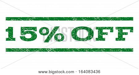 15 Percent Off watermark stamp. Text tag between horizontal parallel lines with grunge design style. Rubber seal green stamp with dust texture. Vector ink imprint on a white background.