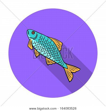 Fish icon in flat design isolated on white background. Fishing symbol stock vector illustration.