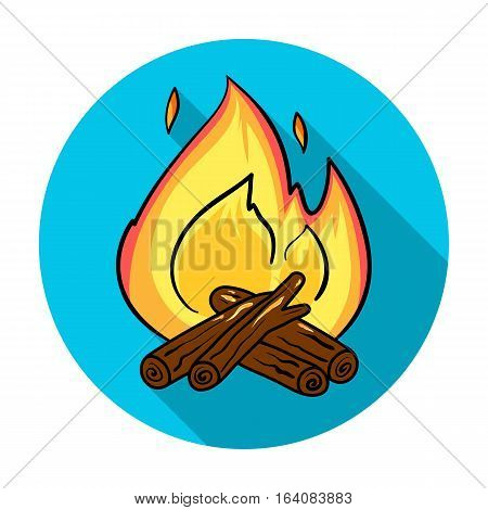 Campfire icon in flat design isolated on white background. Fishing symbol stock vector illustration.