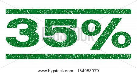 35 Percent watermark stamp. Text caption between horizontal parallel lines with grunge design style. Rubber seal green stamp with unclean texture. Vector ink imprint on a white background.