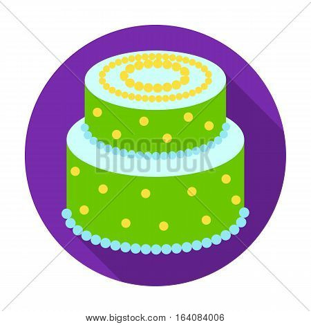 Green cake with yellow dots icon in flat design isolated on white background. Cakes symbol stock vector illustration.
