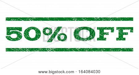 50 Percent Off watermark stamp. Text caption between horizontal parallel lines with grunge design style. Rubber seal green stamp with unclean texture. Vector ink imprint on a white background.