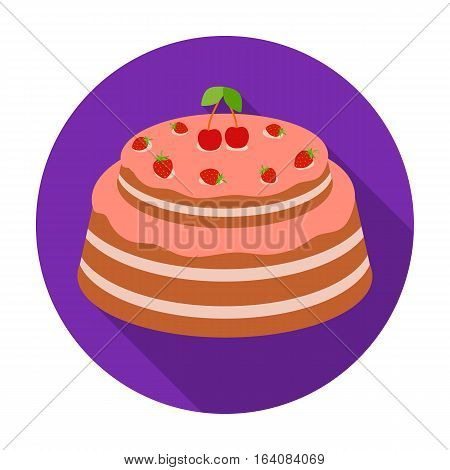 Cake with cherry icon in flat design isolated on white background. Cakes symbol stock vector illustration.