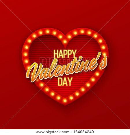 Heart frame. Retro light banner.Valentine's card. Vector illustration eps 10