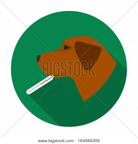 Dog with thermometer icon in flat design isolated on white background. Veterinary clinic symbol stock vector illustration.