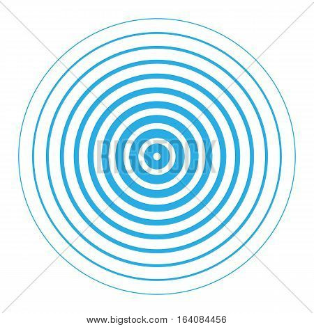Vector illustration of blue rings sound wave. Radar screen concentric circles elements. Line in a circle concept. Radio station signal. Tap symbol. Radio signal background.