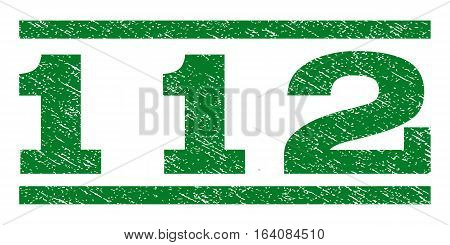 112 watermark stamp. Text tag between horizontal parallel lines with grunge design style. Rubber seal green stamp with dust texture. Vector ink imprint on a white background.
