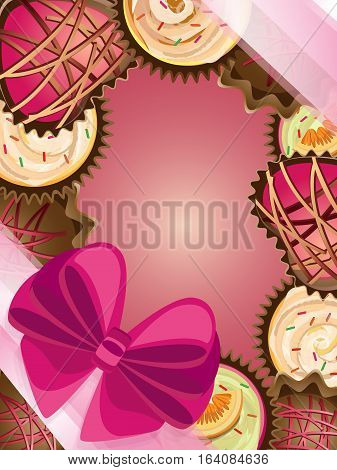 Bright vector frame for valentines. Round cupcakes and a heart-shaped with a lush bow and delicate ribbon on diagonal corners