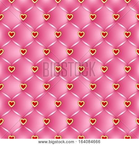 Pink Quilted vector seamless pattern with hearts