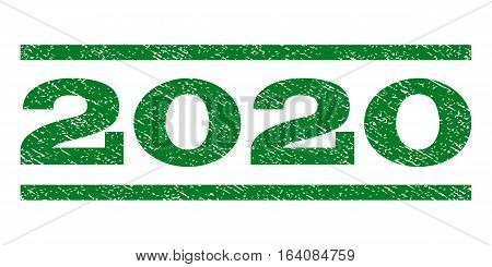 2020 watermark stamp. Text tag between horizontal parallel lines with grunge design style. Rubber seal green stamp with dust texture. Vector ink imprint on a white background.