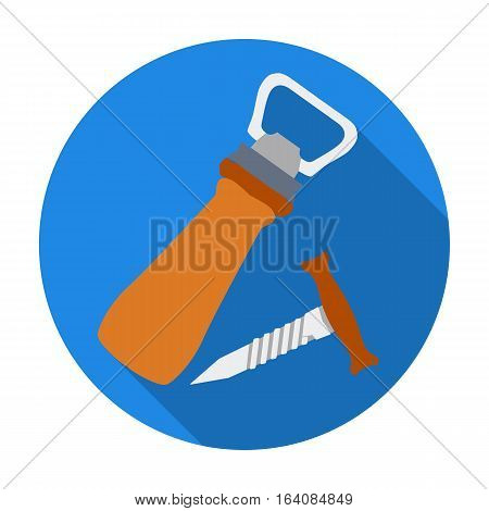 Corkscrew and bottle-opener icon in flat design isolated on white background. Pub symbol stock vector illustration.