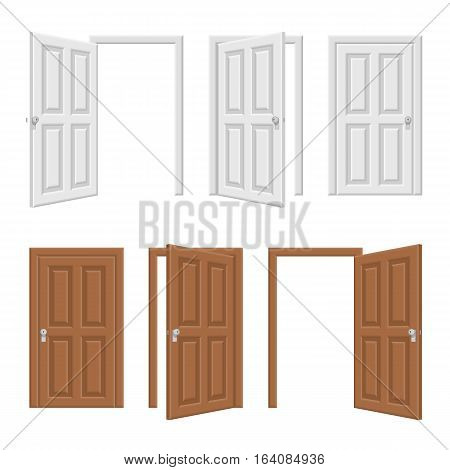 Open and closed brown and white wooden door concept. Realistic vector Illustration of opened and close classic wooden doors isolated on white background.