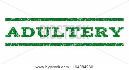 Adultery watermark stamp. Text tag between horizontal parallel lines with grunge design style. Rubber seal green stamp with dirty texture. Vector ink imprint on a white background.