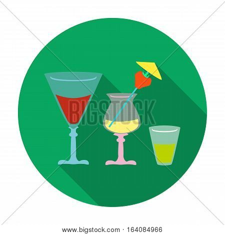 Cocktails icon in flat design isolated on white background. Pub symbol stock vector illustration.