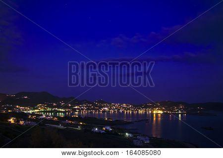 Beautiful Finikas village in the evening. Greek travel destinations.