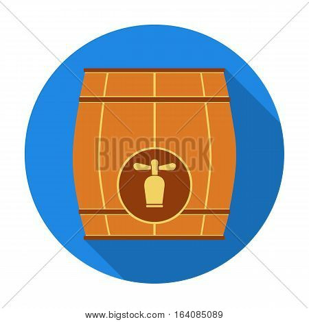 Wooden barrel with a tap icon in flat design isolated on white background. Pub symbol stock vector illustration.