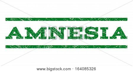 Amnesia watermark stamp. Text tag between horizontal parallel lines with grunge design style. Rubber seal green stamp with unclean texture. Vector ink imprint on a white background.