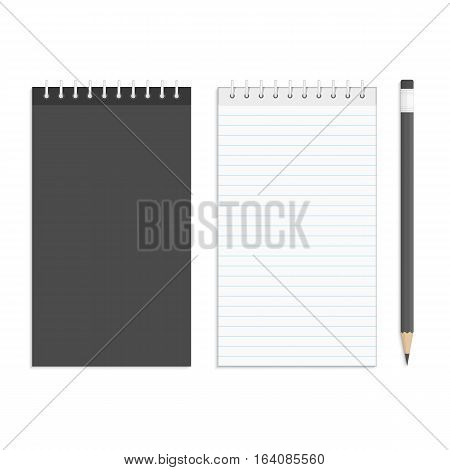Realistic blank spiral notepad and pencil mockup for your design. Eps 10. Template branding and corporate identity. Notebook mock up, with place for your image, text or corporate elements details.