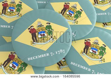 US State Buttons: Pile of Delaware Flag Badges 3d illustration