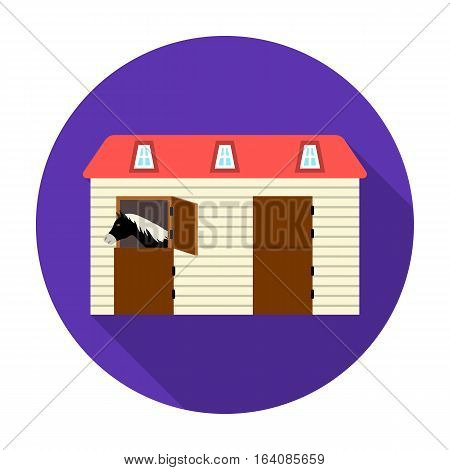 Horse stable icon in flat design isolated on white background. Hippodrome and horse symbol stock vector illustration.
